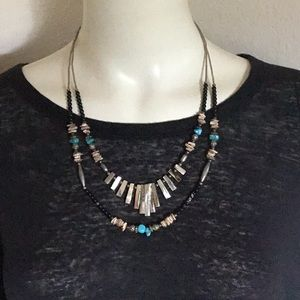 Vintage 70s Hippie Boho Turquoise Bead Necklace